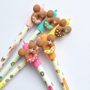 Image 4 - 30 pcs Cute bear gel pen Donuts cookie 0.5mm roller ball Blue color pens Stationery Office school supplies Canetas escolar A6440