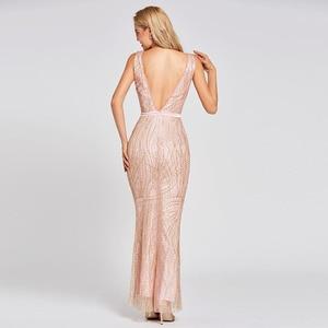 Image 4 - Vestido de noche de trompeta largo, rosa, sin espalda, económico, con cuello redondo, de encaje, para fiesta de boda, formal, tipo sirena