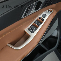 Car Styling Door Armrest panel decoration Covers Stickers Trim for BMW X5 G05 2019 Window Glass Lifting Buttons Auto Accessories