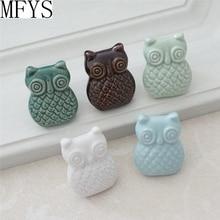 Owl Knobs Ceramic Drawer Knob Pulls Kids Dresser Handle Pull Kitchen Cabinet Pull Door Knob White Brown Blue Green for Children цены