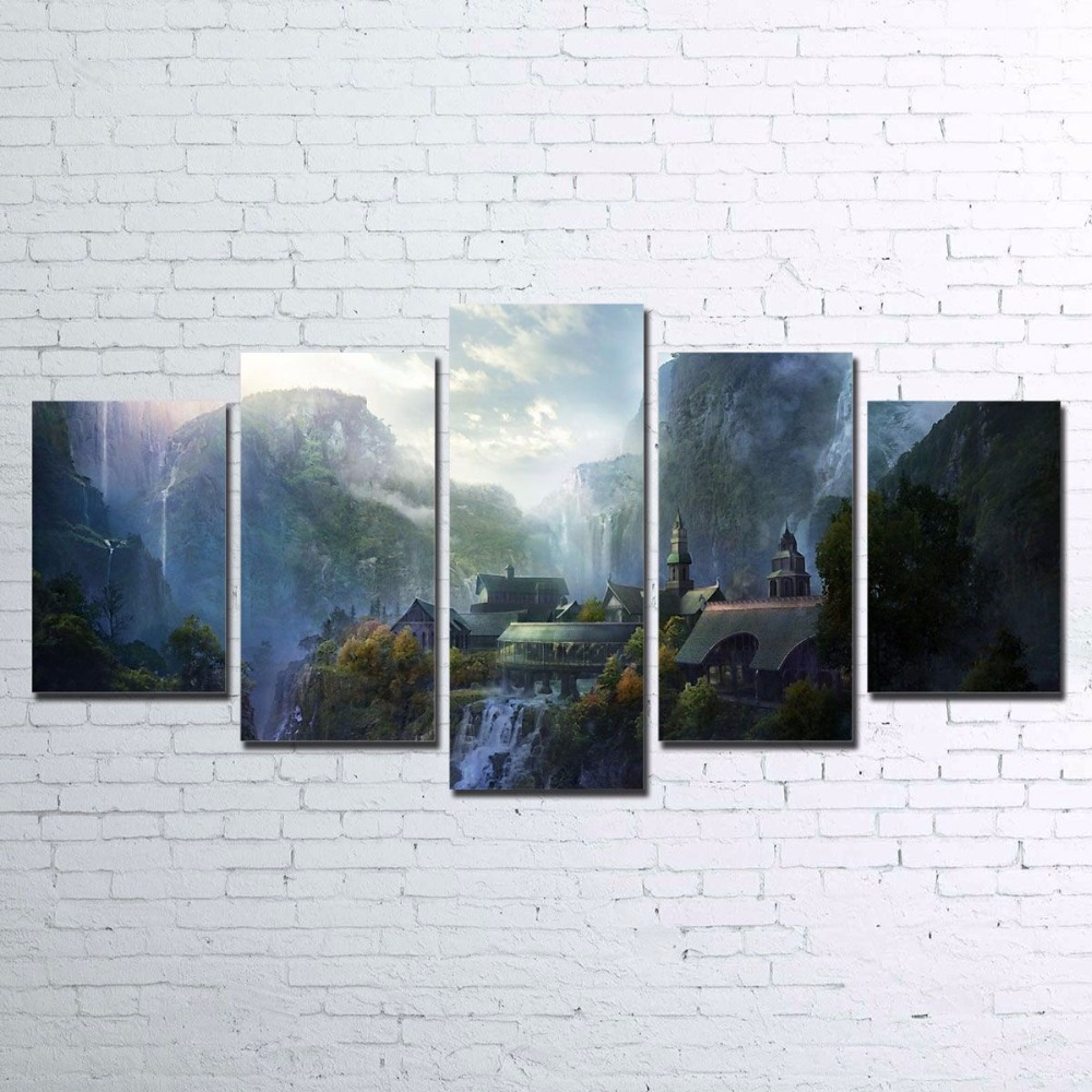 Canvas Pictures Wall Art Decor HD Prints 5 Pieces Mountain Waterfall Paintings Living Room Lord Of The Rings Poster Framework