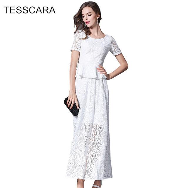 new concept 27892 6b142 US $36.0 |Delle donne di Estate Elegante Vestito Lungo Maxi Vestito  Femminile A due pezzi Separa Pizzo Abiti Retro Robe Femme Vestiti di Bianco  ...