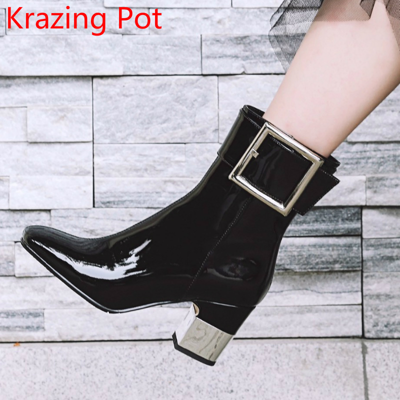 2018 Superstar Genuine Leather Gladiator Square Buckle High Heels Keep Warm Handmade Fashion Elegant Women Mid-calf Boots L93 рюкзак deuter daypacks giga bike 28l 2015 turquoise midnight