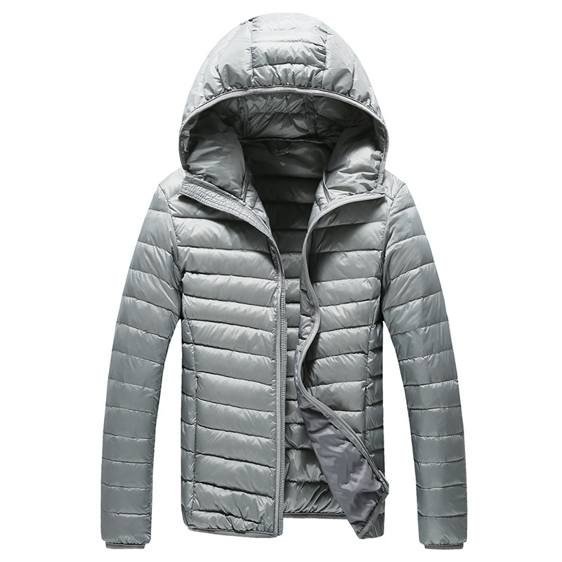 2019 New High-end Warm Fashion for Men Feather Hooded Down Jacket Pure Color Boutique Mens Feather Down Coat Thin Light Jackets