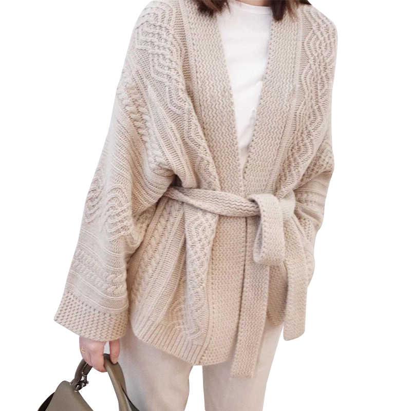 BELIARST 19 осенне-зимний толстый свитер женский вязаный кардиган с v-образным вырезом Модный повседневный свободный пояс свитер большого размера