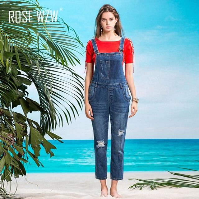 207063da ROSE WZW 2017 women rip denim jumpsuits casual sexy stretch romper ladies'  pencil overalls slim female jumpsuit for 4 season-in Jumpsuits from Women's  ...
