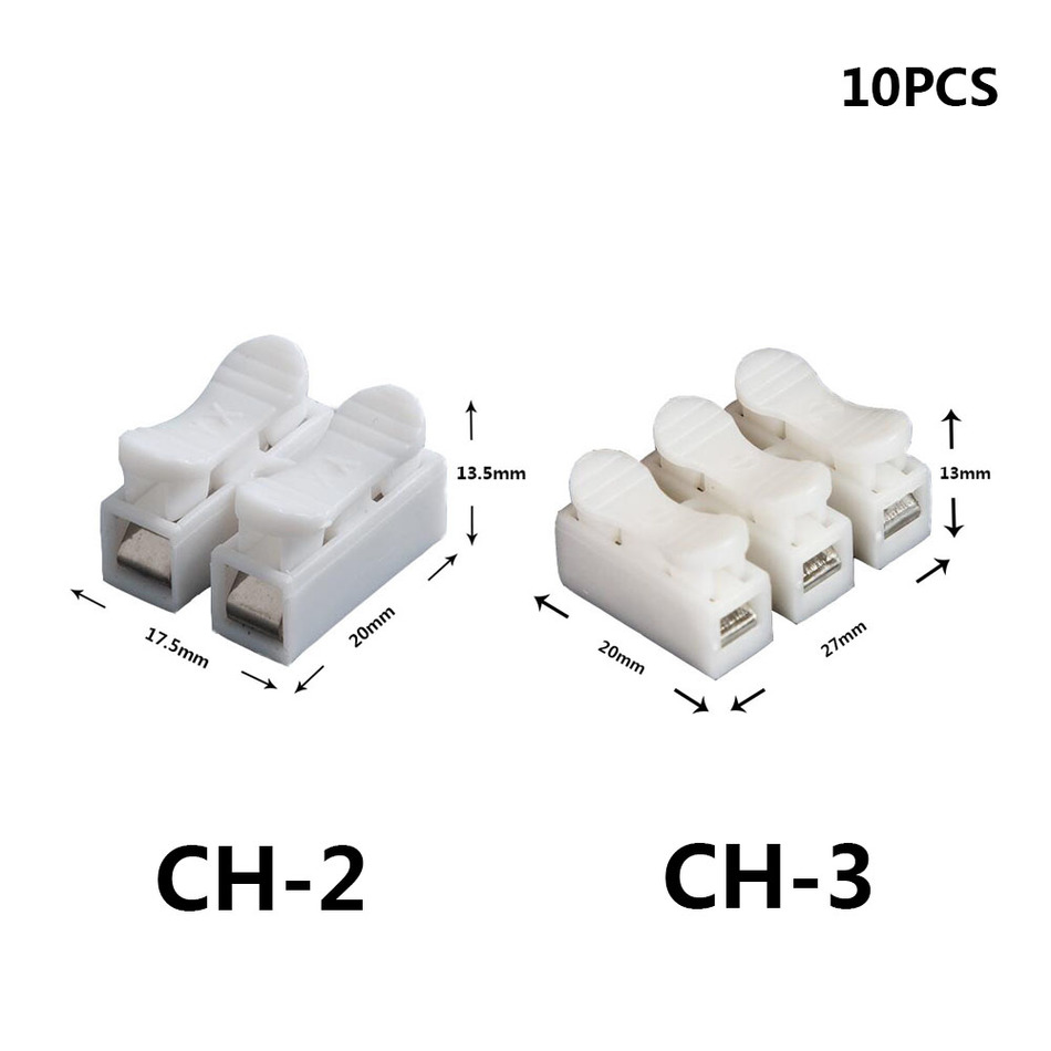 CH-2 CH-3 Spring Wire Quick Connector 10pcs/lot 2p 3p G7 Electrical Crimp Terminals Block Splice Cable Clamp Easy Fit Led Strip 10pcs lot ch 2 2p g7 spring wire quick connector splice with no welding no screws cable clamp terminal 2 way easy fit led strip