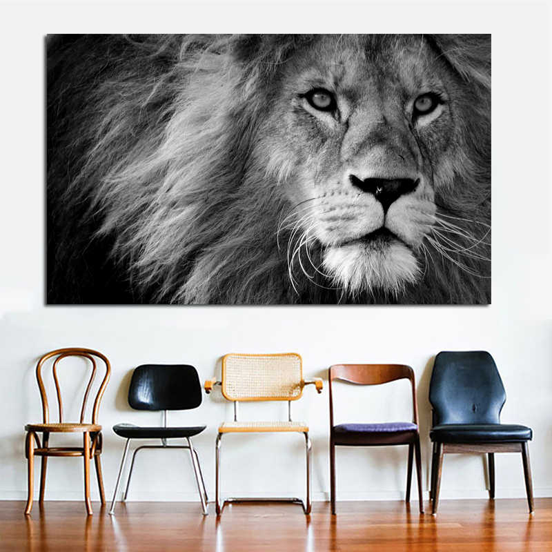 Decorative Painting Lion And Fly Animal Canvas Print Black and White Wall Pictures for Living Room Big Size Modern Posters Print