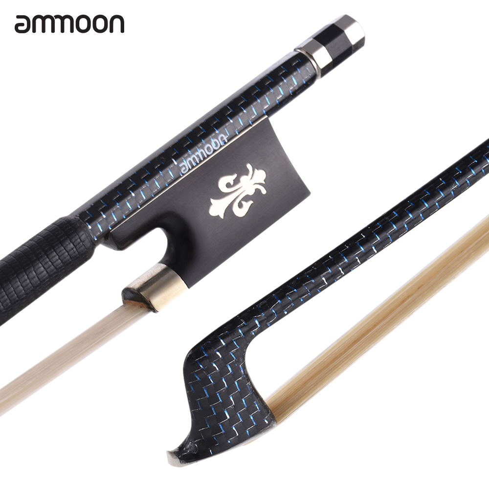 ammoon 4 4 Violin Bow Well Balanced Fiddle Bow Braided Carbon Fiber Round Stick Exquisite Horsehair