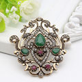 Classic Quality Turkish Broach Brooch Royal Jewelry Retro Gold Plating Flower Design Hijab Scarf  Lapel Pins Woman Festival Gift