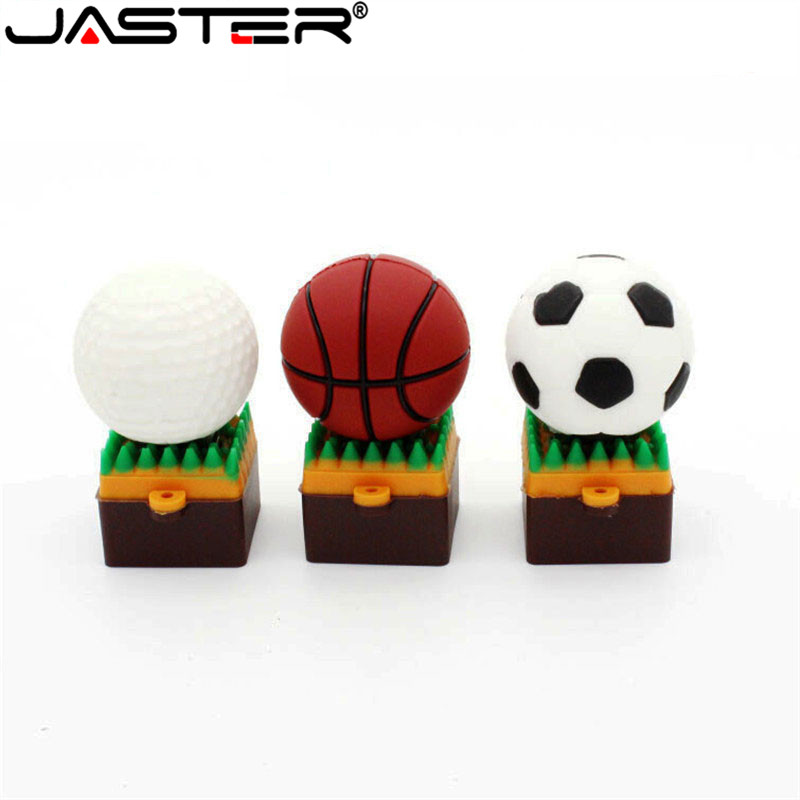 JASTER Sports Ball Sitting USB Flash Drive 8GB 16GB 32GB Memory Stick Basketball Stand Pendrive Football Pendrifer   USB 2.0