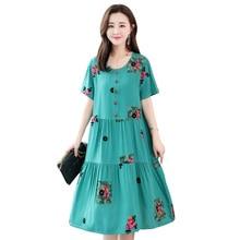 Summer embroidery Floral Vintage Women Dress 2019  New O-Neck Robe Women Dresses loose plus size vestidos de fiesta