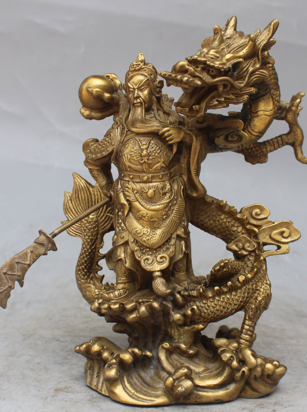 Details about  Chinese Fengshui Bronze Guan Gong Yu Warrior God Sword Stand on Dragon Statue