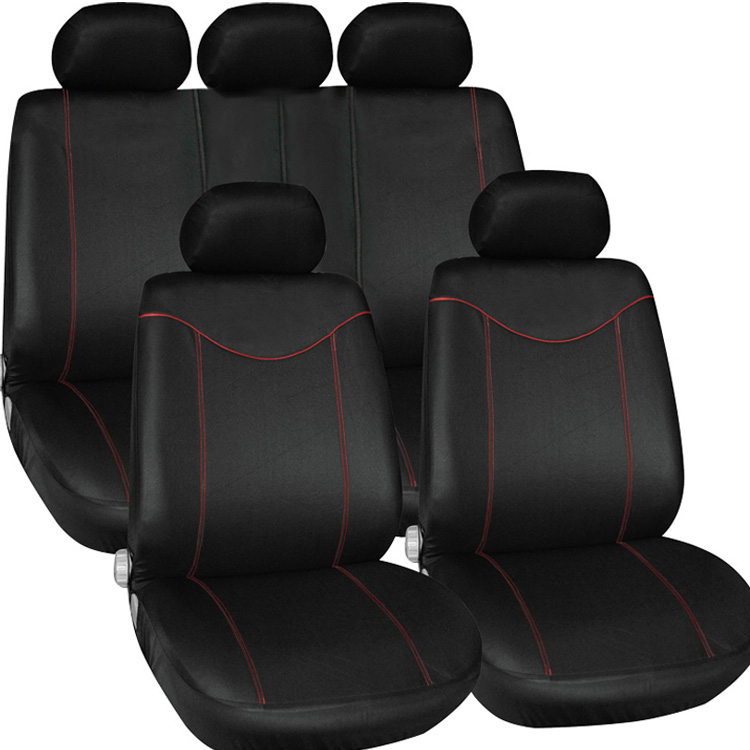 цены 11Pcs Universal Car Seat Cover Set Seat Covers Front Seat Back Seat Headrest Cover Mesh Outer Jacket Black with Red Line