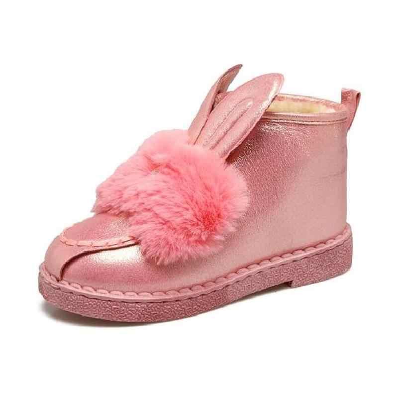 00141069f875 Зимние женские ботинки зимние сапоги Новинка 2018 г. хлопковая обувь  Повседневное кроличьи уши Бабочка-