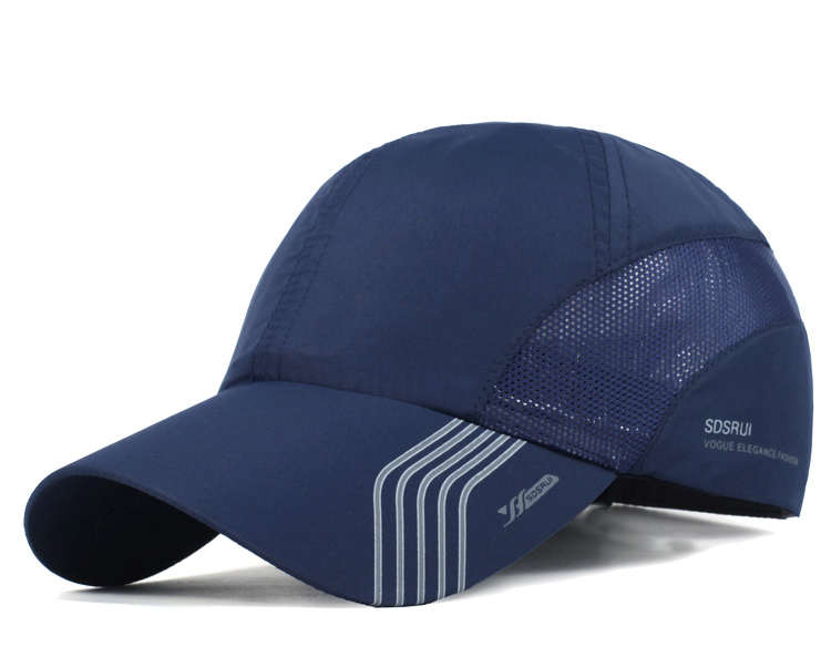 Striped Brim Sporty Baseball Cap - Navy Blue Cap Front Angle View