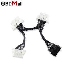 Obd obd2 16pin 케이블 obd ii 16 핀 y 쪼개는 도구 연장 연결 관 접합기 elm327 obd2 접합기를위한 3 여성 obd 2 케이블에 1 남성