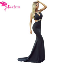 Dear Lover Party Gowns Long Sexy Diamond Embellished Sexy Cutout Black Mermaid Dress Floor-Length Formal Robe de Soiree LC61052