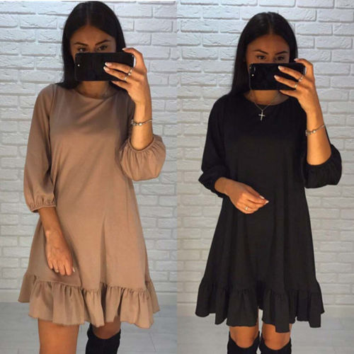 Lanxirui Womens Casual Three Quarter Sleeves Ruffle Dress High Quality Cotton Loose For Women Clothes