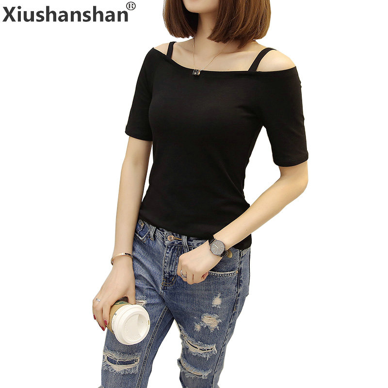 Xiushanshan T Shirts Women 2018 Summer Casual Slash Neck