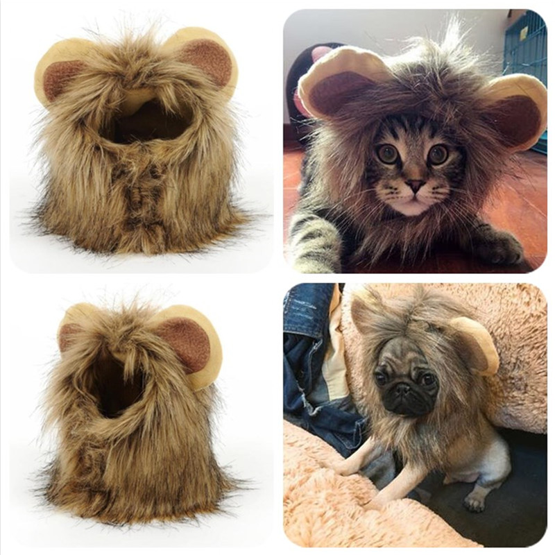 1pc Funny Small Dog Cat Cosplay Lion Wig Head Cap Hat With Ear For Puppy Cats Autumn Winter Dress Up Costume Muffler Scarf Pzp59