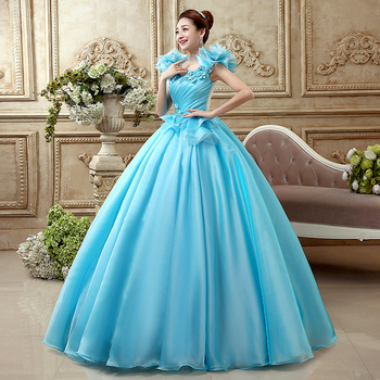 Free ship light blue flower ruffled plain medieval dress sissi princess Medieval Renaissance Gown Victorian Belle ball