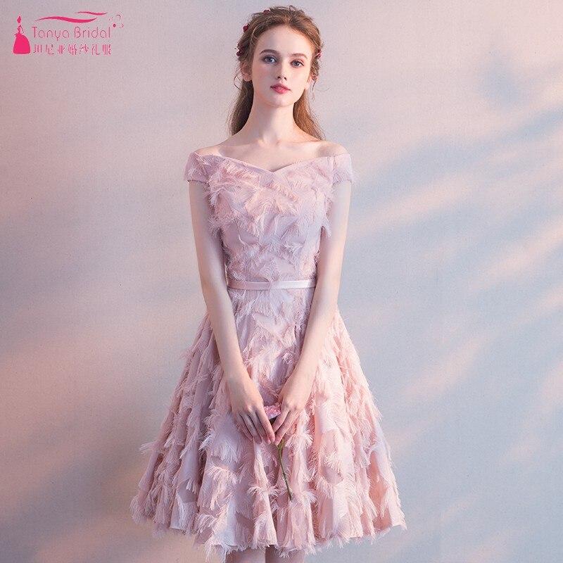 Vintage V Neck Pink Knee Length   Cocktail     Dresses   A Line White Formal Party Gown Off The Shoulder Homecoming   Dress   DQG483
