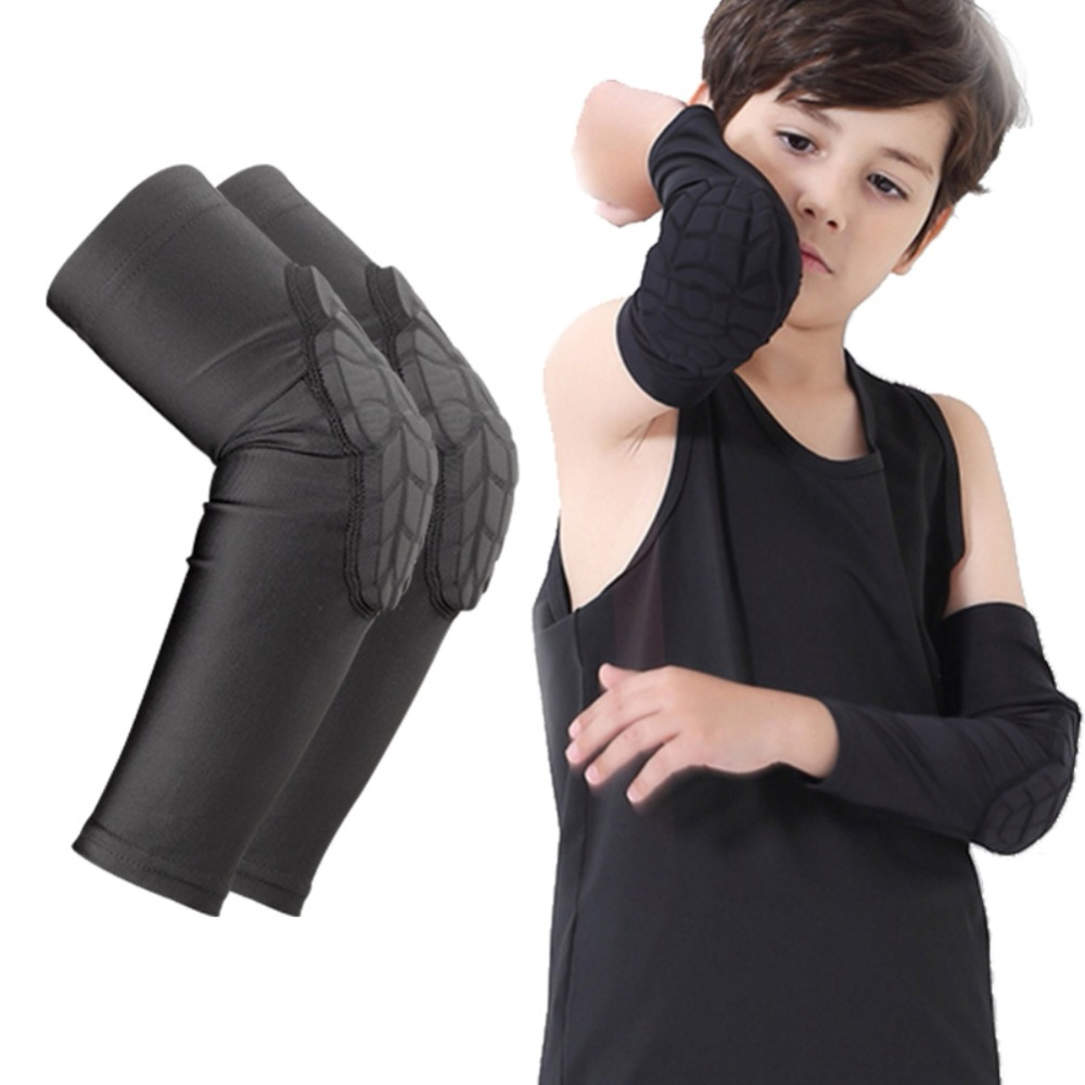 1Pc Kids Sports Elbow Pads Anti-Collision Basketball Honeycomb Elbow Brace Sleeve Children Skating Running Elbow Guard