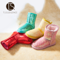T.S. kids boots Winter shoes rubber boots girl thickening shoes kids leather warm snow boots Bling sparkle shoes