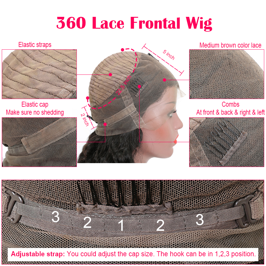 Remy Préplumée 360 Dentelle Frontale Perruque Péruvienne - Cheveux humains (noir) - Photo 5