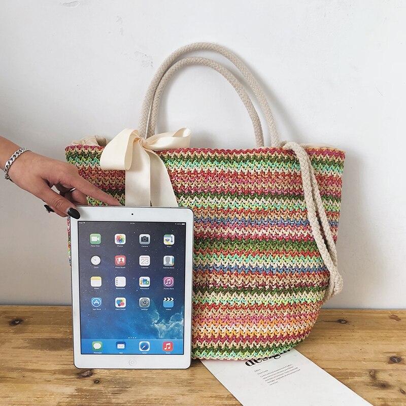 Fashion Rattan Woven Women Handbag Summer Beach Bag Large Capacity Tote Bag Handmade Knitted Straw Crossbody Bags for Women 2019
