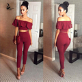 New fashion women's short sleeve flounced shirt and pencil pants unformal set Sexy  Off Shoulder Blouse slim Stylel 2pcs Set