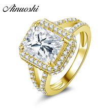 AINUOSHI 10k Solid Yellow Gold Women Engagement Rings Square Shaped Simulated Diamond Halo Jewelry Hot Bridal Customized Design