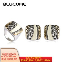 Blucome Latest Dubai Jewelry Sets Bijuterias Max Brincos Big Ring Anel Anillos Shell Square French Hooks Earrings Bijoux Woman(China)