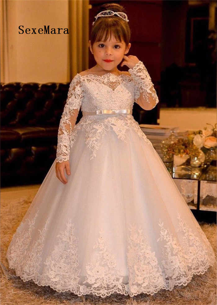 לבן ארוך שרוול כבוי כתף פרח בנות שמלות לחתונה נפוחה טול תחרה ילדי נסיכת מסיבת יום הולדת הקודש שמלה