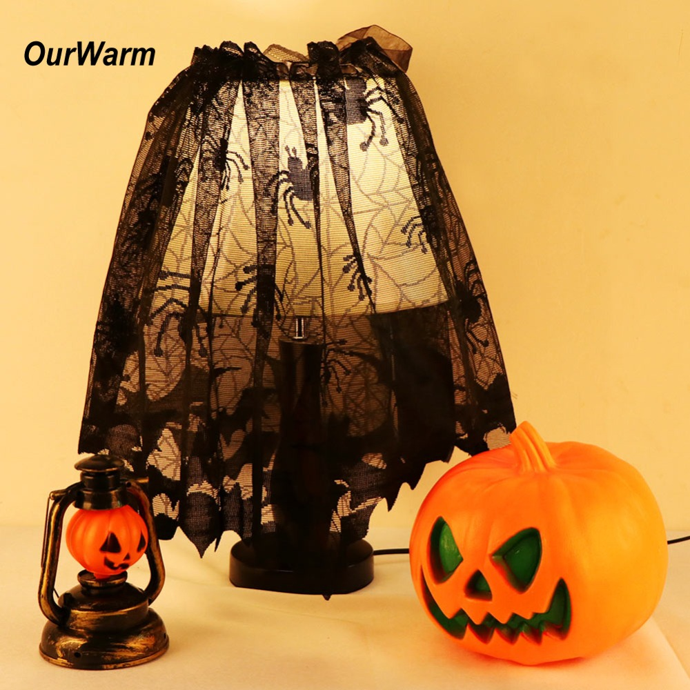 OurWarm 1pc Halloween Black Lace Spiderweb Fireplace Mantle Scarf Cover 60x20inch Curtains Shades Festive Party Supplies