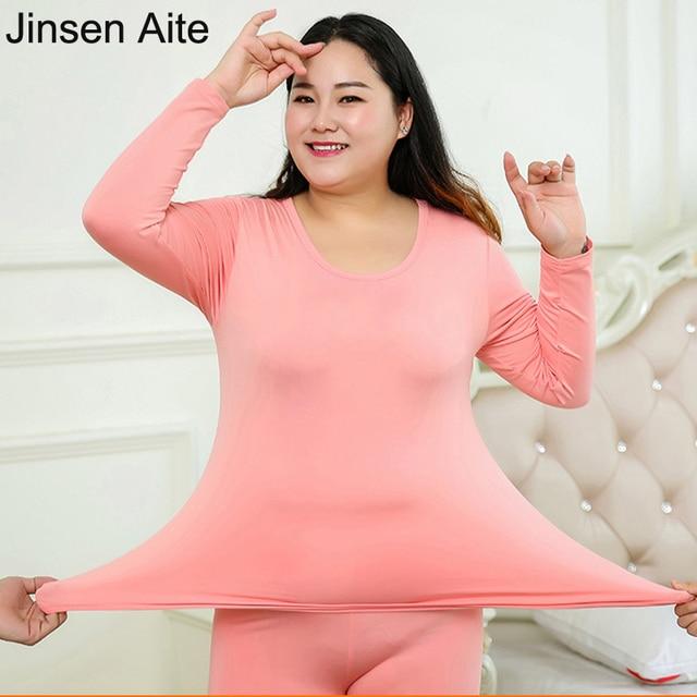 046654f64e0 Jinsen Aite New Autumn Winter Fleece Warm 2 Pieces Women Long Johns Large  Size Slim Thermal Underwear Women Plus Size 6XL JS40