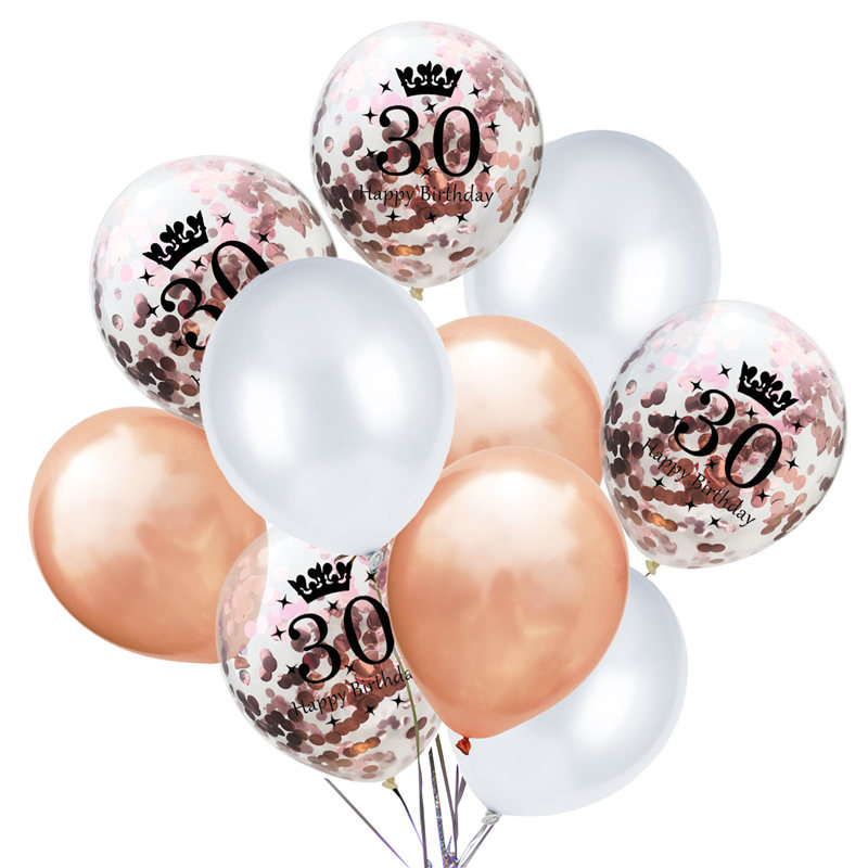 NEW SILVER LARGE 30TH BIRTHDAY BALLOONS 5 PACK ANNIVERSARY PARTY DECORATION