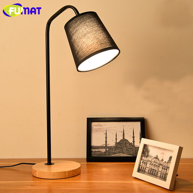 FUMAT Nordic Simple Wood LED Table Lamp Creative Warm Bedroom Beside Light Study Desk Lamp E27 Holder Black White Fabric Shade стоимость
