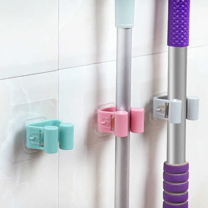 1 Pcs Wall Mounted Titular Mop Escova Escova Banheiro Cozinha Rack De Armazenamento Cabide Organizador com Montado Pendurado Ferramentas de Limpeza