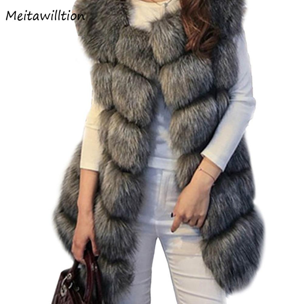 New 2017 Women Faux Fur Coat Autumn Winter Sleeveless Faux Fur Vest Coat Lady Warm Jacket