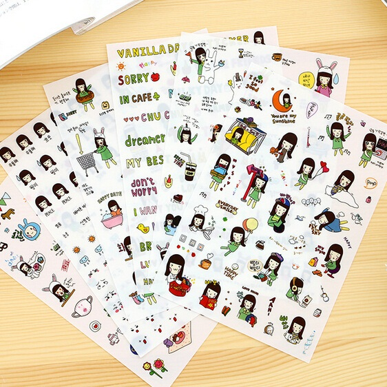 Korea cartoon promotion kawaii novelty vanilla girl series sticker set hot selling