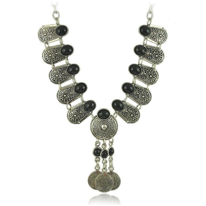 Gypsy Turkish Boho Antique Tibetan Silver Carved Flower Bohemian Gem Coin Tassel Choker Necklace Jewelry