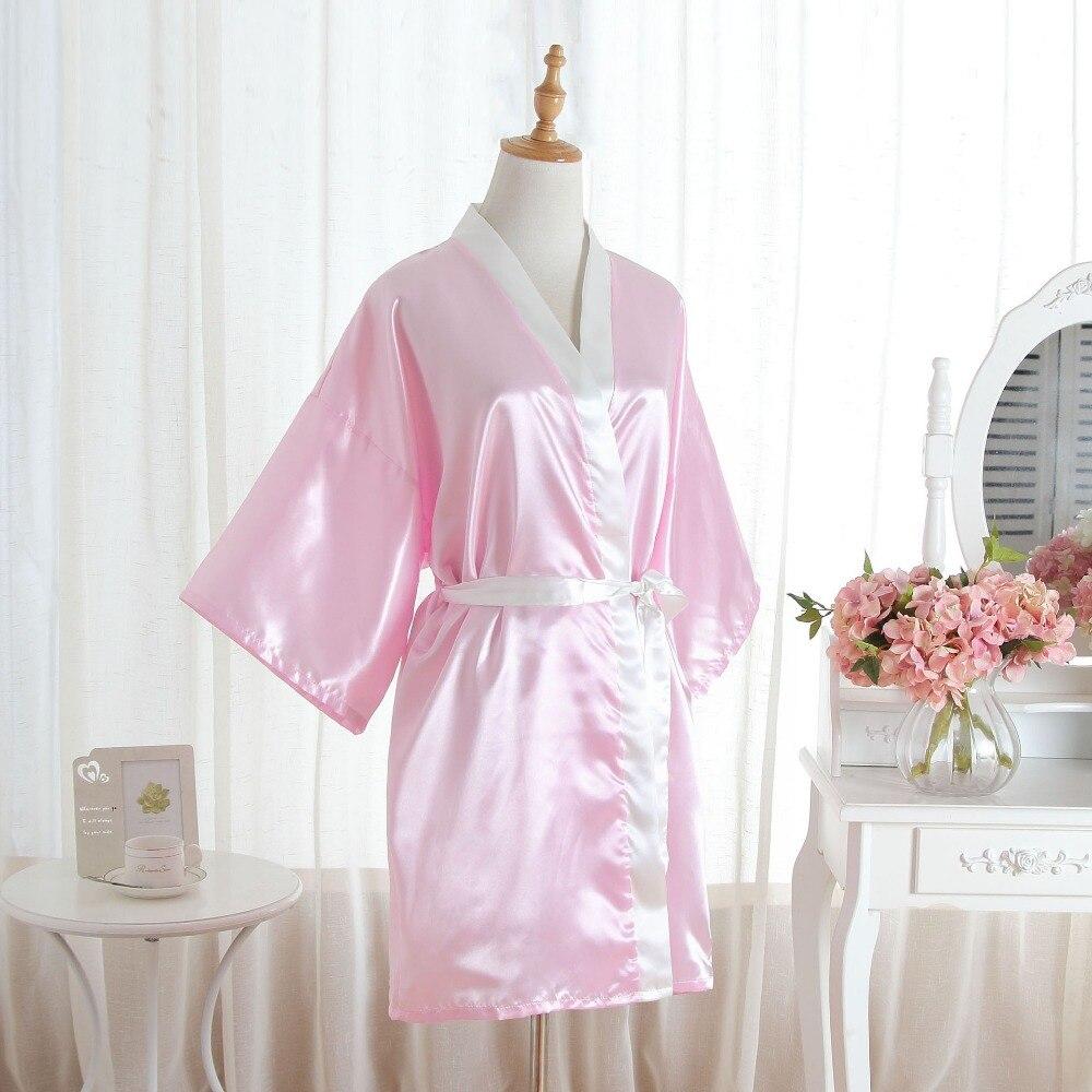 Elegante femenino satén Kimono vestido sólido boda novia dama de ...