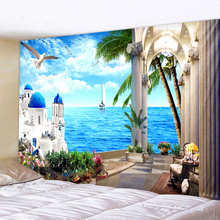 Seaside Scenery Indian Tapestry Bohemian Mandala Wall Hanging Sandy Beach Picnic Throw Towel Rug Blanket Mattress