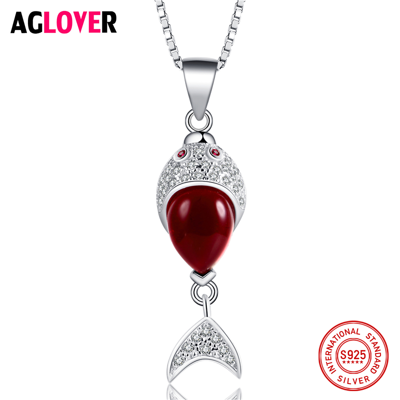 New Arrivals 925 Sterling Silver Necklace AAA Red Crystal Ruby Fish Woman Pendant Jewelry