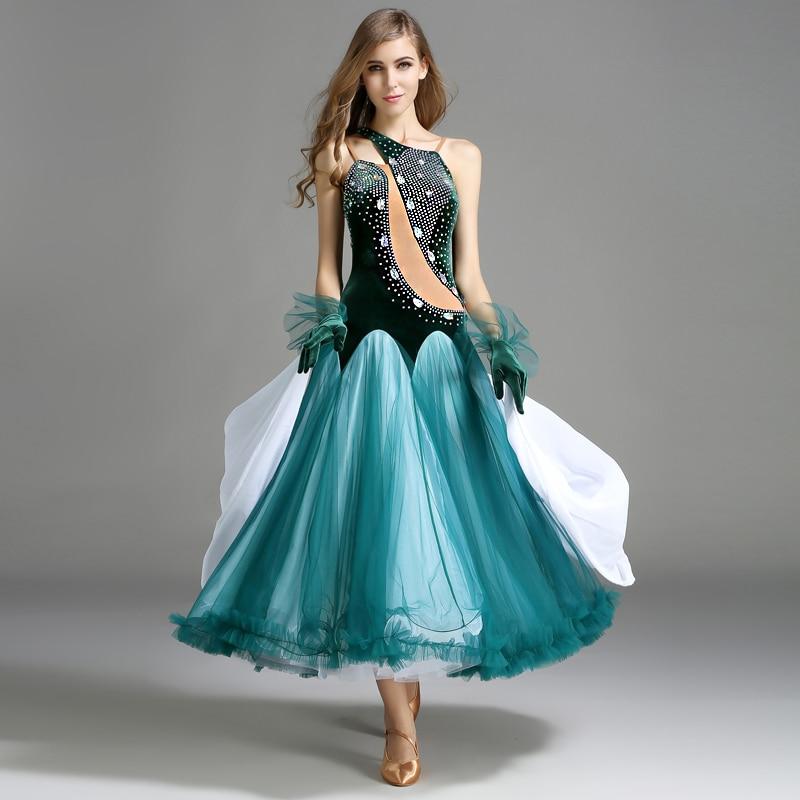 Ballroom Dance Dress Adult 2019 New One Shoulder Stage Competition Waltz Tango Dancing Skirt Women's Standard Ballroom Dresses