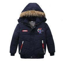 Winter Warm Thicken Fur Collar Child Coat Children Outerwear Windproof Fleece Liner Baby Girls Boys Jackets For 90-110cm