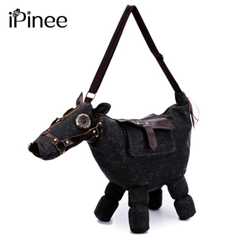 2018 New animal creative trend fashion canvas 3D pony ma shape female messenger bag bag men Animal shoulder bag