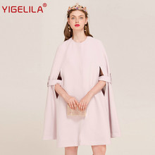 YIGELILA Brand 9440 Latest New Fashion Solid O-neck Covered Button Batwing Sleeve Women Long Cape Coat